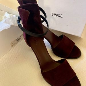 VINCE Shoes Burgundy Suede Ankle strap suede back